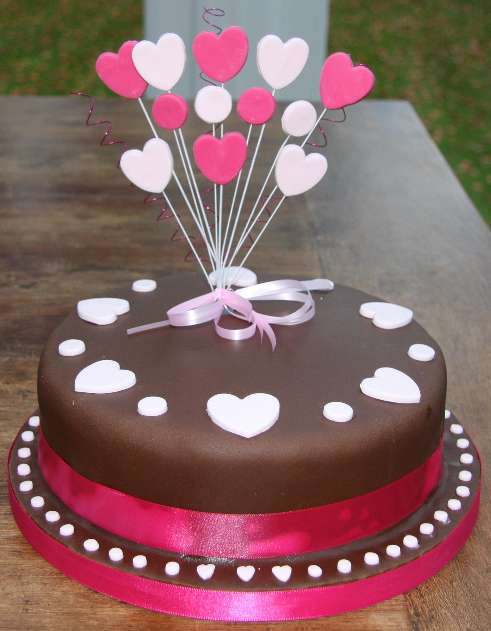 Chocolate Birthday Cake with Hearts - lovinghomemade