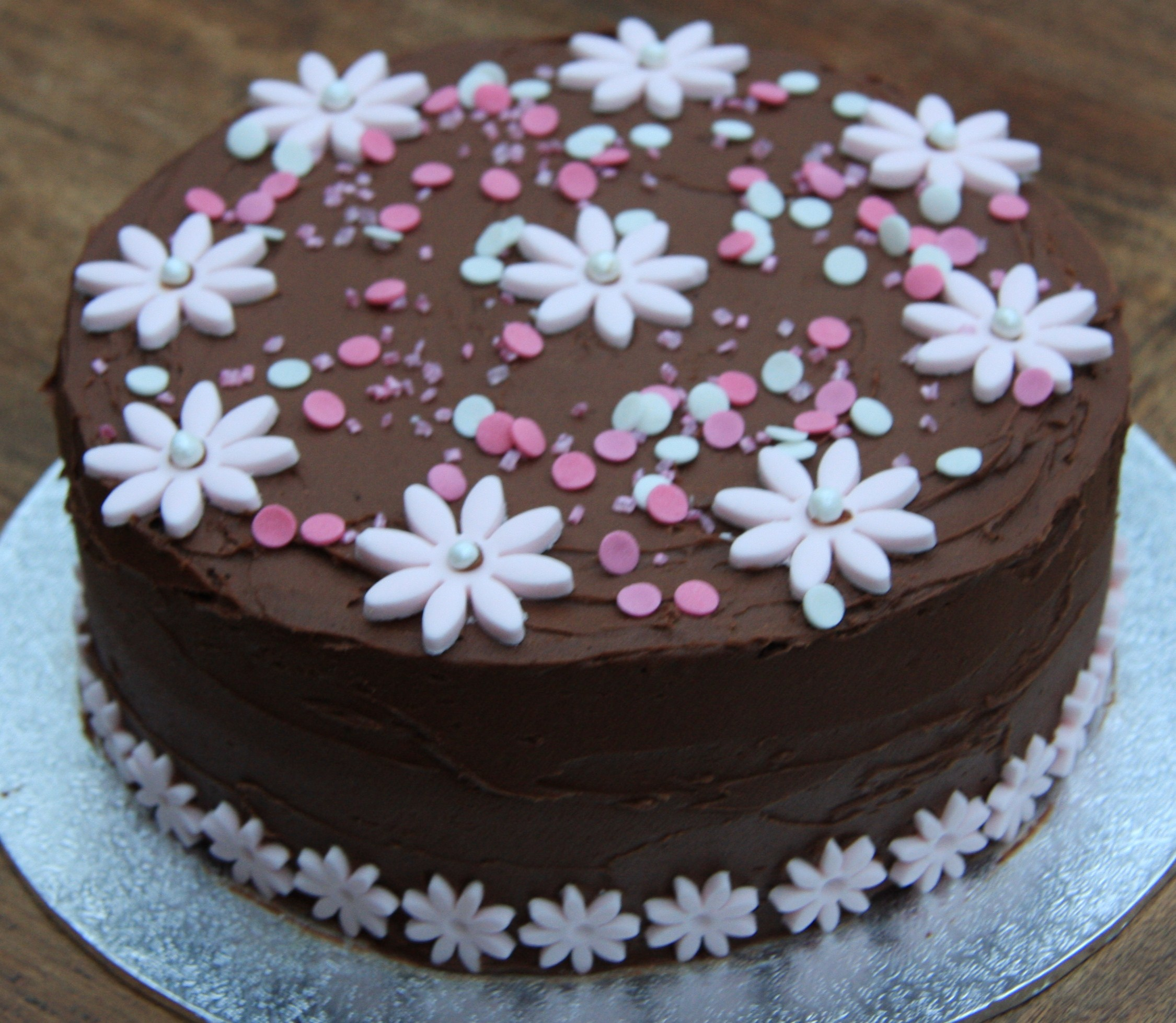 Chocolate And Pink Flower Birthday Cake Lovinghomemade
