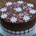 chocolate pink flower birthday cake