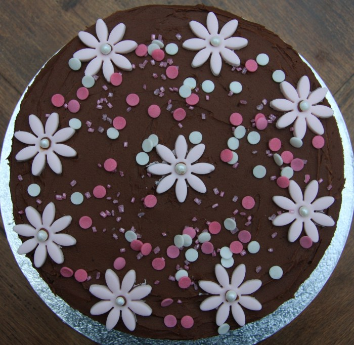 pink chocolate flower birthday cake
