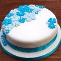blue flower birthday cake