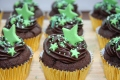Chocolate cupcakes green stars