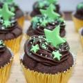 Chocolate cupcakes green stars