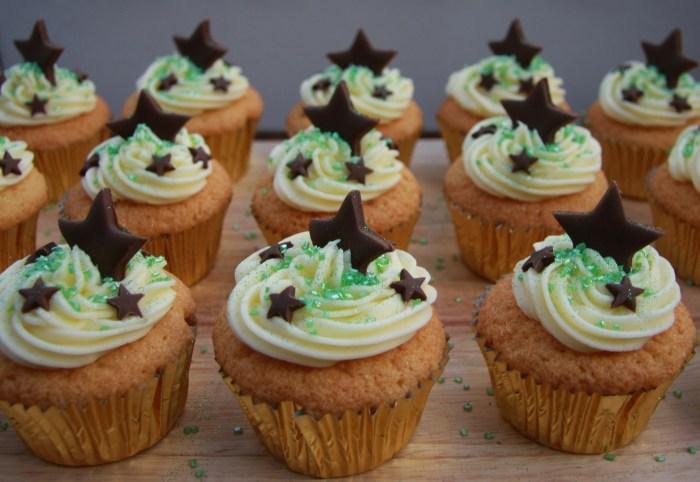 vanilla cupcakes chocolate stars