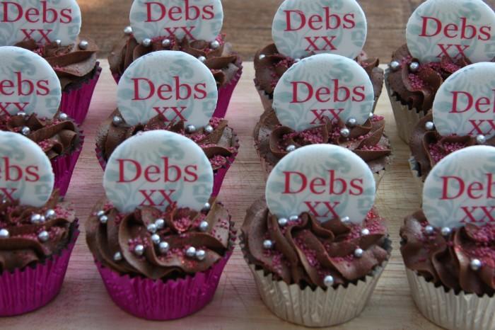 pink silver birthday cupcakes