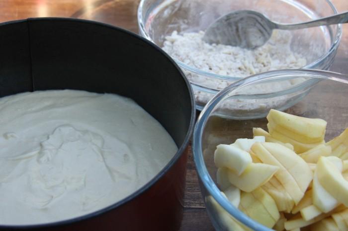 making crumble cake