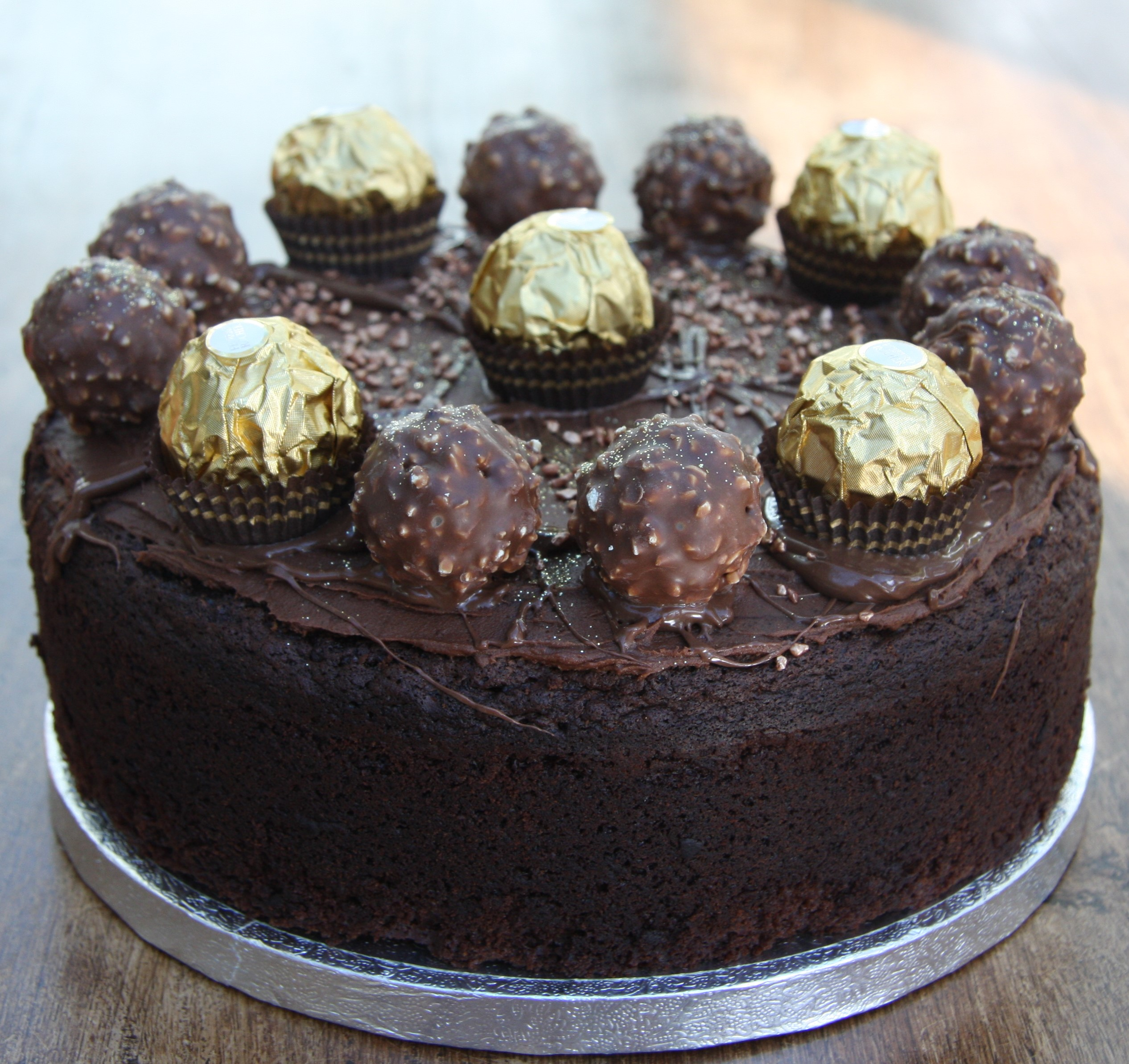 Amazing Chocolate Cake Recipe   decorated with Ferrero ...