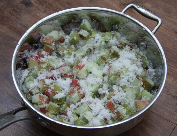 making rhubarb jam