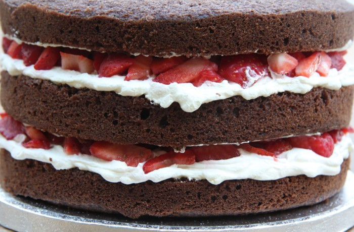 chocolate strawberry and cream cake