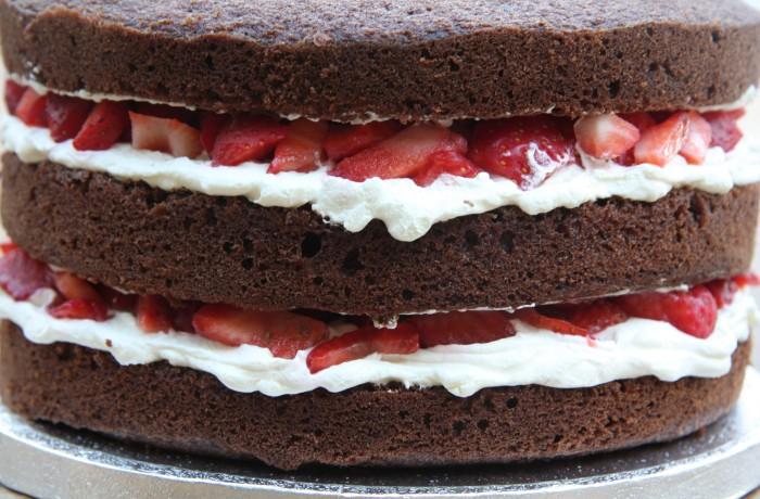 chocolate strawberry and cream cake