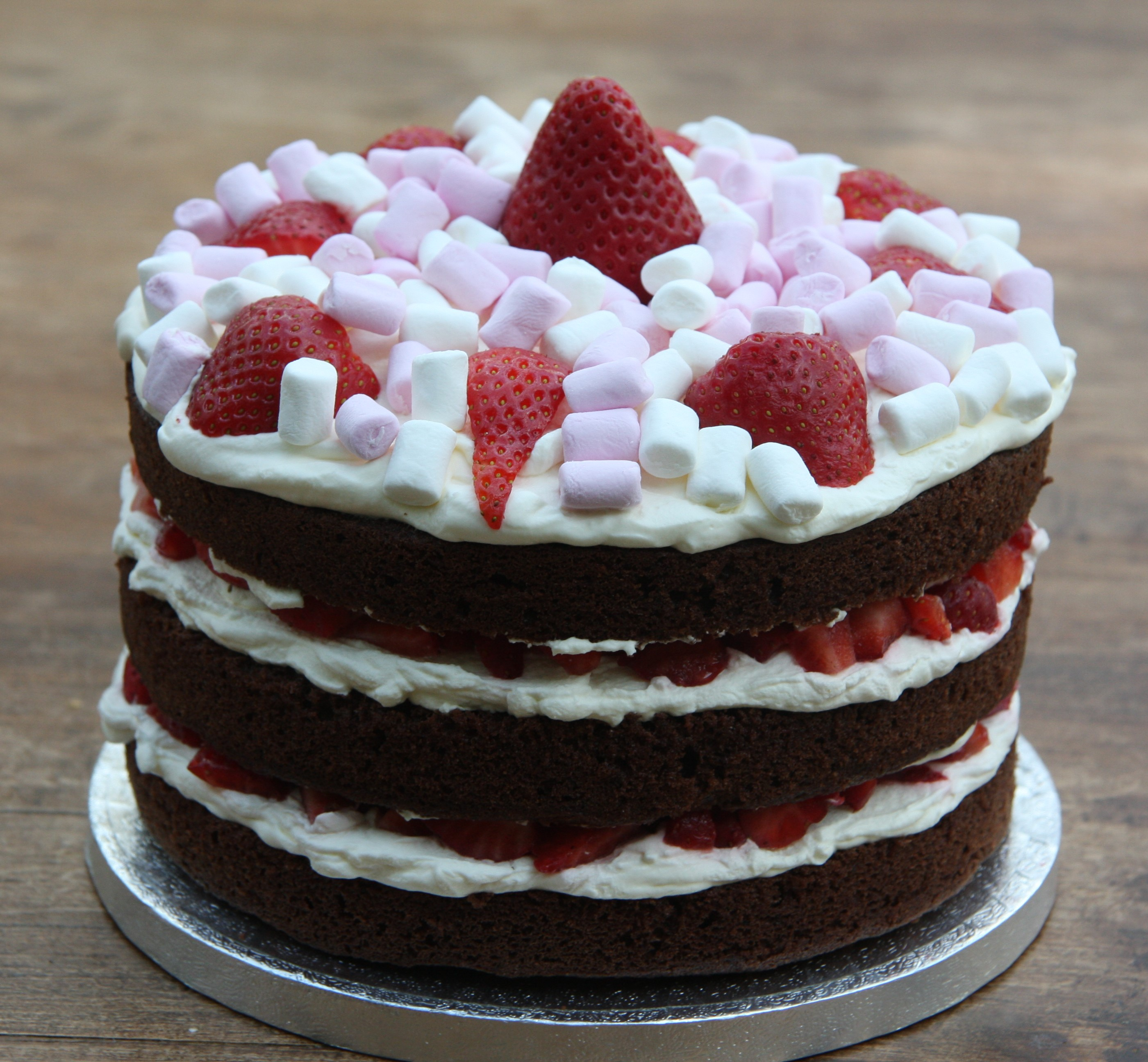 Pleasant Chocolate Birthday Cake With Strawberries And Cream And New Funny Birthday Cards Online Overcheapnameinfo