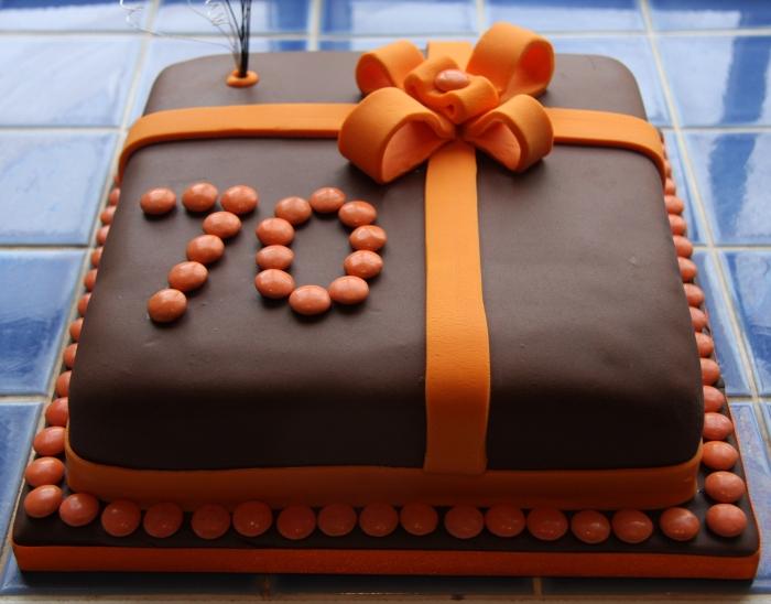 smartie 70th chocolate birthday cake