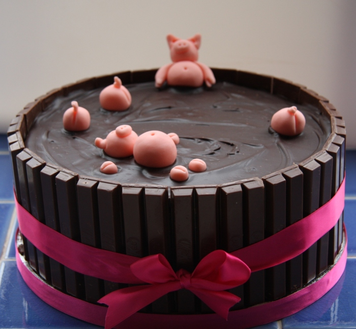 Lucky pigs in chocolate mud...