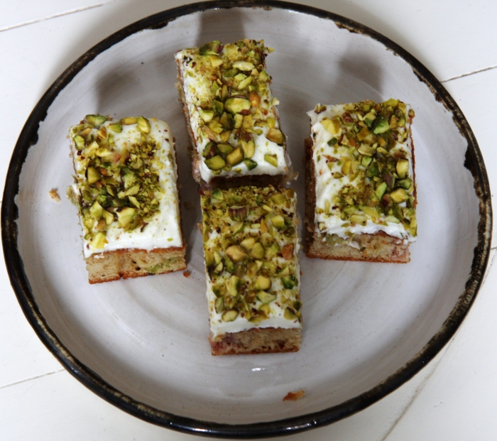 rhubarb cardamom pistachio cake