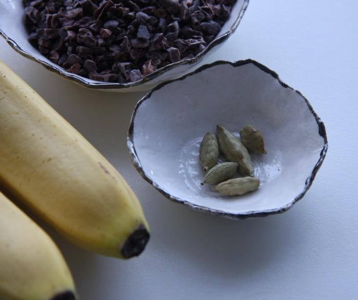 making banana cardamom loaf