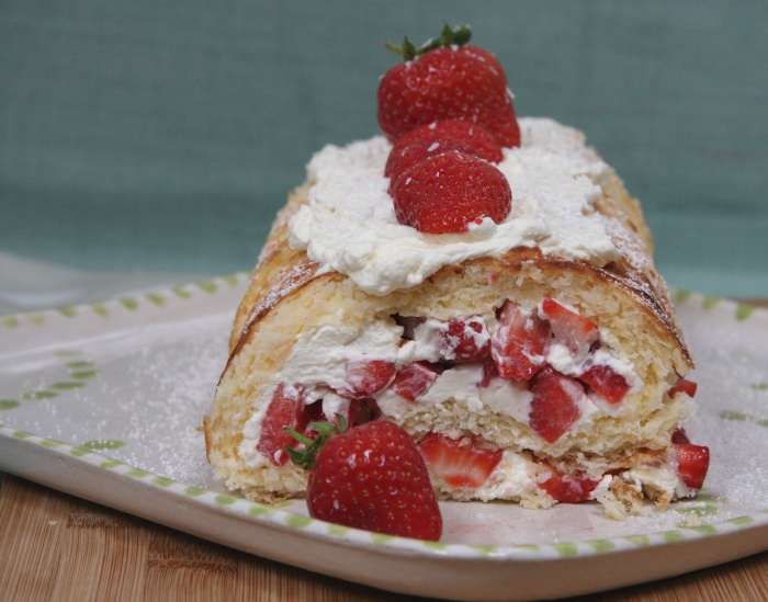 coconut lemon strawberry roulade