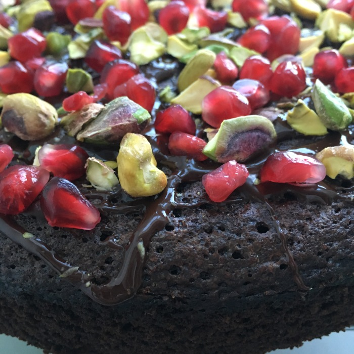 chocolate pistachio pomegranate cake