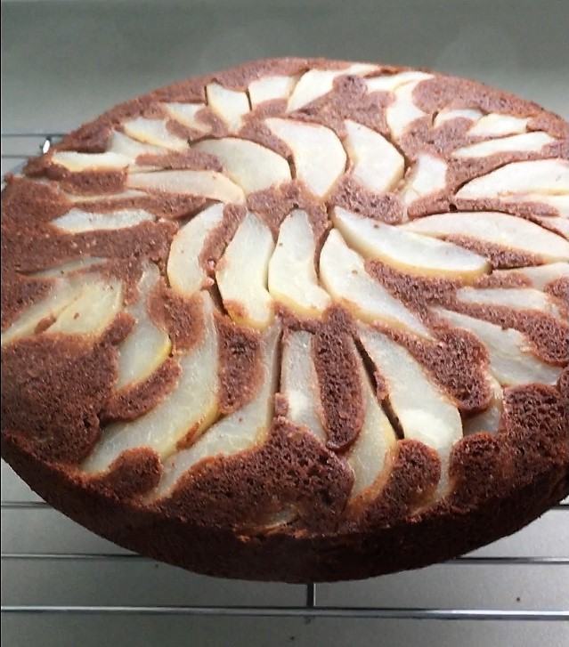 pear chocolate upside down cake