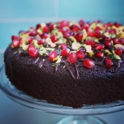 lovinghomemade pistachio pomegranate chocolate cake