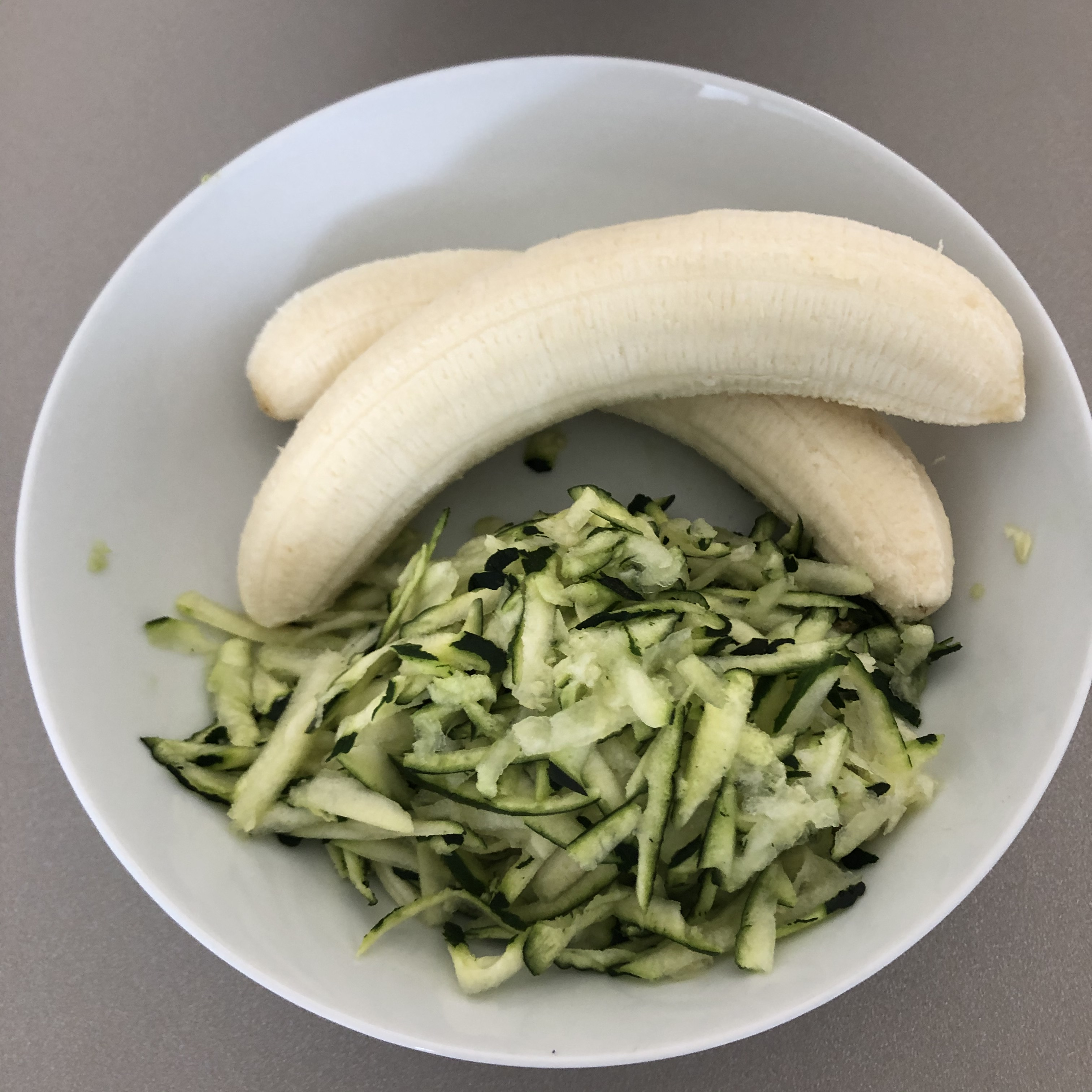 making banana courgette bread