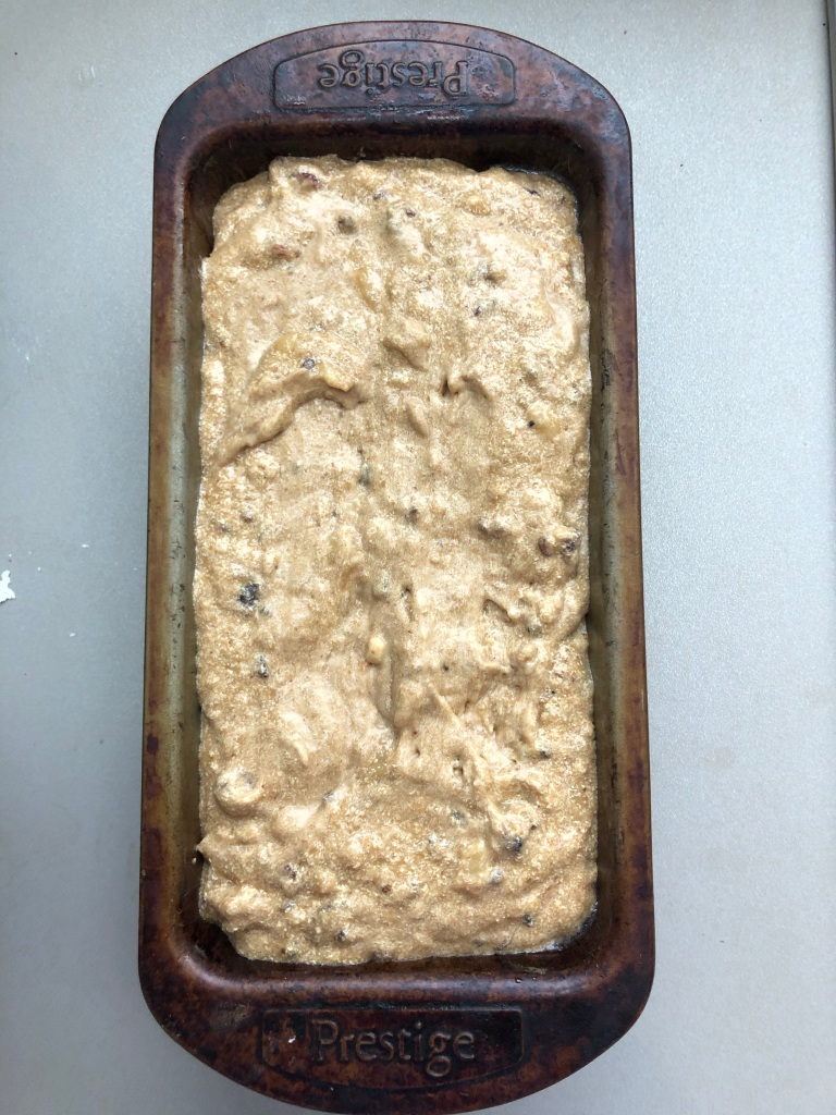 sourdough starter banana loaf ready to bake